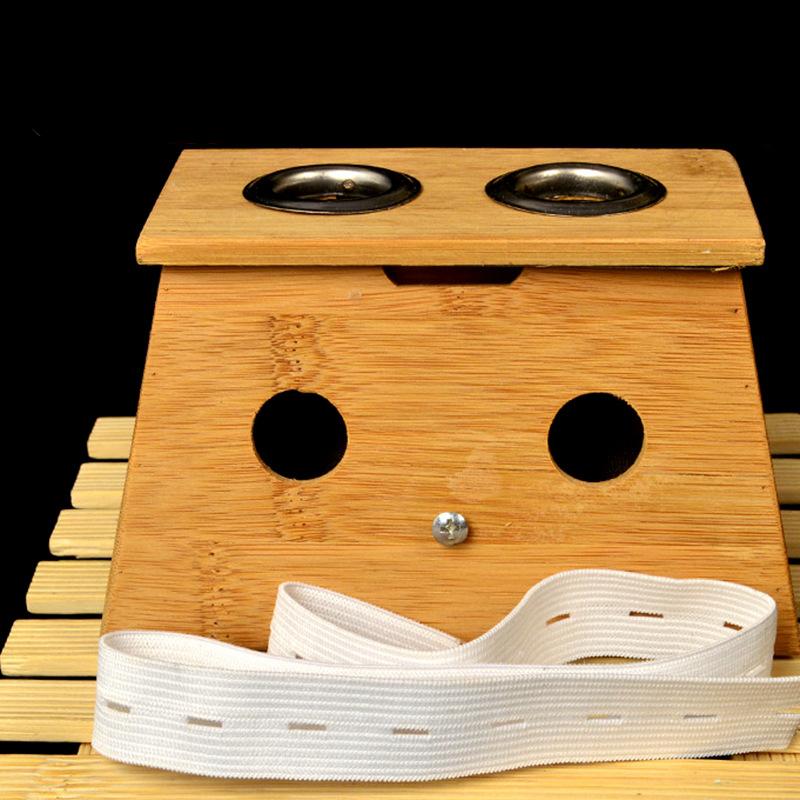 竹制双孔灸盒 带绑带 多功能灸盒 多空可选厂家直销