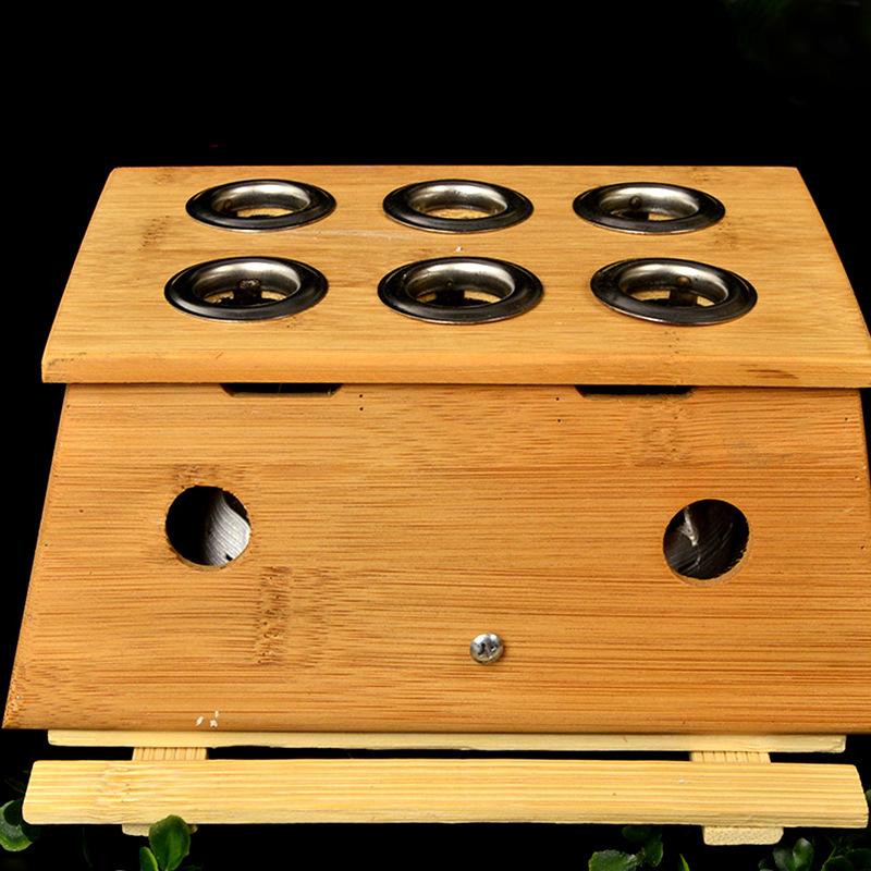 竹制六孔灸盒 带绑带 多功能灸盒 多空可选厂家直销